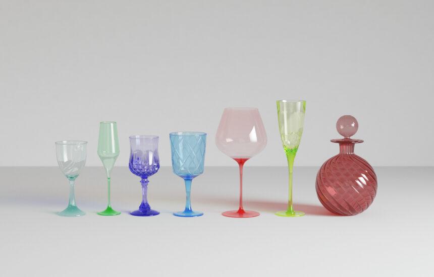 3d model glassware render