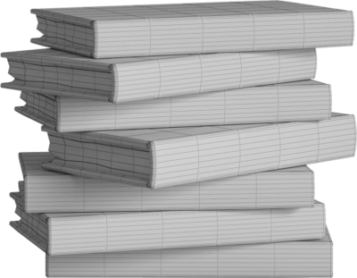 Mesh rendering of stack of books